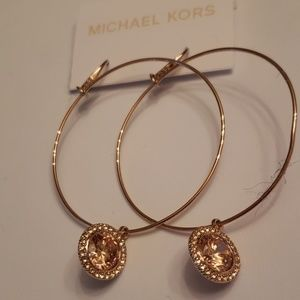 Michael Kors Nwt Rose Gold Crystal Hoop Earrings